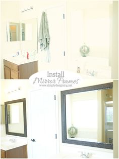 How to Install a Bathroom Mirror Frame (the video) by Ashley at Simply Designing