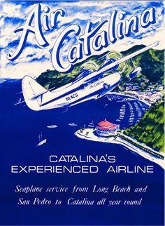 1930s Air Catalina Island Avalon Bay Long Beach Travel Advertisement Art Poster  #Vintage
