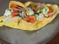 Crepes with Smoked Salmon, Ricotta, Red Onion and Capers with Lemon Creme Fraiche recipe from Bobby Flay via Food Network Crepe Recipes, Brunch Recipes, Egg Recipes, Brunch Dishes, Salmon Recipes, Creme Fraiche, Ricotta, Bobby Flay Recipes, Smoker Cooking