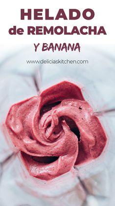 Este helado vegano es una receta con betabel o remolacha muy saludable y realmente deliciosa! Este nicecream lleva banana congelada y es muy fácil y rápido de preparar! #receta #betabel #remolacha #helado #saludable #sano #vegano #nicecream #helado de #banana #congelada #nanacream #vegana #recetas #saludables | www.deliciaskitchen.com Nutritious Snacks, Healthy Desserts, Just Desserts, Healthy Recipes, Vegetarian Recipes, Snack Recipes, Cooking Recipes, Sweet Recipes, Peanut Butter