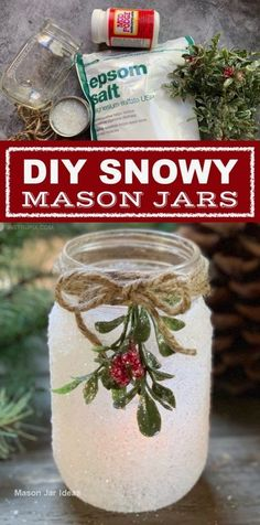 DIY Christmas Craft: Snowy Mason Jar Tea Light Holders - DIY Christmas Candle Holder Idea: Snowy Mason Jars — If you are looking for fun and easy Christmas - Mason Jar Christmas Crafts, Diy Christmas Lights, Christmas Candle Holders, Mason Jar Crafts, Holiday Crafts, Christmas Candles, Mason Jar Candle Holders, Diy Christmas Projects, Mason Jar Christmas Decorations
