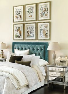 Blue velvet tufted headboard I Click for more bedroom design inspiration