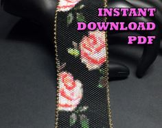 This is a Beautiful Beaded Peyote Colorful Paisley Bracelet. The dimensions for this bracelet are approximately 1.59in-inch width x 6.92in-inch length when using 11/0 Delica seed beads. There is a total of 15 bead colors, with a total bead count of 3000 beads (30 beads by 100 beads). This pattern does not include clasp instructions. And base knowledge of peyote beading is needed.  STITCH STYLE: Peyote WIDTH: 30 Beads (Approx 1.59in-inch) LENGTH: 100 Beads (Approx 6.92in-inch) NUMBER OF B...