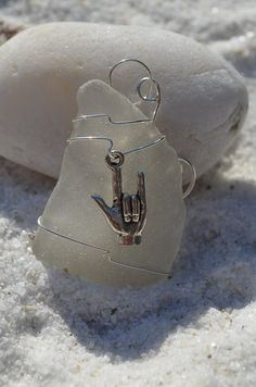 Genuine Sea Glass Ornament with I Love You Charm in Sign Language