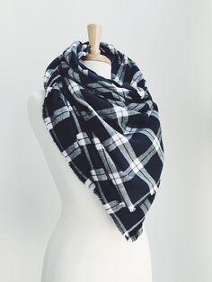 Plaid Blanket Scarf, Oversized Wrap Scarf, Flannel, Shawl - Black + White