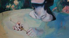 "Alexandra Levasseur | Eaux Troubles II | 19.5X11"" -SOLD: acrylic pencils / paper"