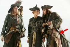 Pirates of the Carribean <3  ~ the arrow points to his mothers shrunken head btw.... Lol