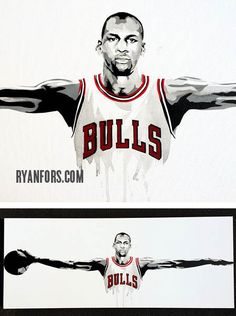 Michael Jordan Wings Chicago Bulls Painting by RyanForsDesign