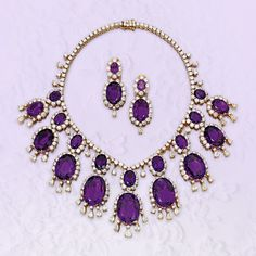 18-karat gold, amethyst and diamond necklace and earclips, Van Cleef & Arpels. Estimate $100,000–150,000. To be offered in Magnificent Jewels in New York on 25 April.