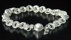 Sterling chainmaille bracelet with gray pearl box clasp.
