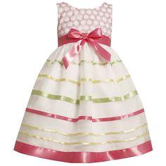 Bonnie Jean Girls Dresses | Bonnie Jean Girls 3T Pink Ribbon Stripe Organza Easter Spring Dress ...