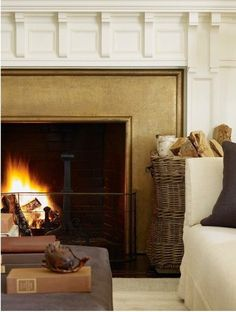 Living Room - Gold Fireplace