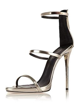 2a57838a73a6 Amy Q Women Shiny Sliver Strappy Sandals with Three Straps Evening Dress  High Heels Covered Heel Shoes