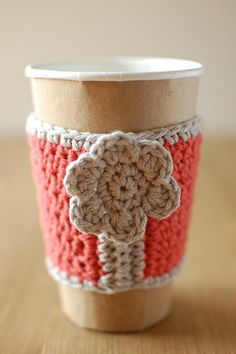 Items similar to Pink coffee cozy with gray flower by The Cozy Project on Etsy