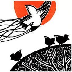 The Lino Bird IX by Linda Farquharson