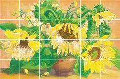 """""""Подсолнухи"""" - Комплект 600х400 из 6-ти плиток 200х200 Painting, Painting Art, Paintings, Painted Canvas"""