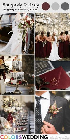 Top 7 Burgundy Fall Wedding Color Combos : Burgundy + Grey Wedding: burgundy bridesmaid dresses, white soft blooms in burgungy bottles as centerpieces, white and grey drip wedding cake with berries and popcorn. Burgundy And Grey Wedding, Gray Wedding Colors, Wedding Color Schemes, Winter Wedding Colors, Blue Wedding, Burgundy Bridesmaid Dresses, Wedding Bridesmaid Dresses, Gray Weddings, Wedding Styles