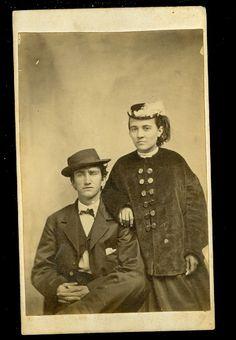CDV Man Woman Hats Young Couple do not Look Happy | eBay
