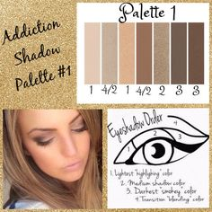 Palette #1 with Eyeshadow Order Guide! Take it from serene to extreme with seven crease-resistant, fade-resistant, long-wearing, buildable colors! Now available in 5 amazing color palettes! #Addiction12345 #ClickImageToShop #Questions #EmailMe sarahandbrianyounique@gmail.com or comment below