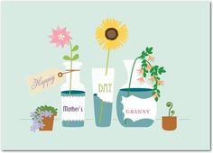 Homespun Arrangement - Mother's Day Greeting Cards - Sarah Hawkins Designs - Aloe - Green : Front