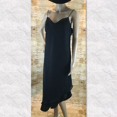 "Sheer black asymmetric dress Made is USA from sheer poly fabric fully lined measured flat pit to pit 20"" length about 44"" (location04) Dresses Asymmetrical"