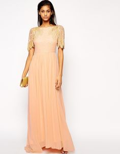 ASOS - Size 6, 10 available. Color is Nude but the catwalk video it looks like it has some peach tinge to it