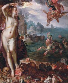 """Joachim Wtewael, """"Perseus and Andromeda"""" (1611), oil on Canvas, 180 x 150 cm. Louvre, Paris"""