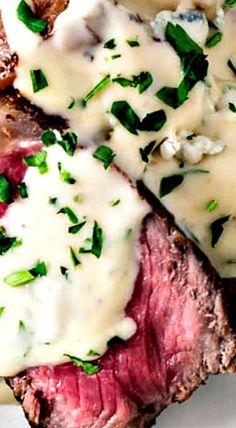 Pan Seared New York Strip Steak with Gorgonzola Cream Sauce ❊