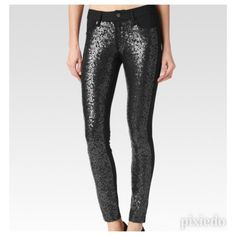{Paige} Sequin Front Ponte Legging Super legging from Paige! Sequin front, plain back and a whole lot of glam fun! The ponte knit base is very comfortable with great stretch and weight. Styling suggestions include anything from white tee & keds to a chunky cashmere sweater and suede ankle boots. Such a fun piece to add a little surprise to your daily wardrobe! Paige Jeans Pants Leggings