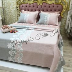 Image may contain: bedroom and indoor bett Furniture Covers, Sofa Covers, Table Covers, Diy Crafts Images, Ribon Embroidery, Designer Bed Sheets, Large Curtains, Bed Pillows, Cushions