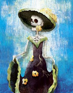 Day of the Dead's Calavera Dancer is a digital print reproduced from original mixed media artwork by Jeff Mitchell on heavyweight satin coated paper.  Each print is signed and dated by the artist and comes with an embossed Certificate of Authenticity card, identifying the print with a unique reference number issued by the studio.