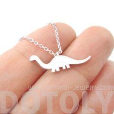 Brontosaurus Dinosaur Silhouette Animal Theme Charm Necklace in Silver