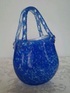 MURANO ?? ART GLASS PURSE VASE BLUE & WHITE HAND BLOWN  FAB