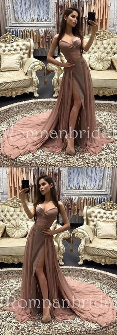 2018 New Arrival Elegant Sweetheart Two Piece Evening Dress A-Line Prom Dress Long Prom Dresses Cheap Prom Dresses, PD0484