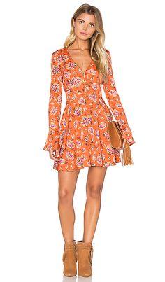Long Sleeve V Neck Floral Dress