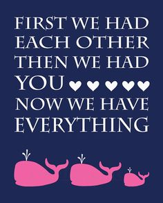 Pink and Navy BLue Whale Girl's Nursery Quote Print  by LJBrodock