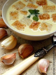 Garlic soup.   I bet this would be good with baked potatoes and bacon.