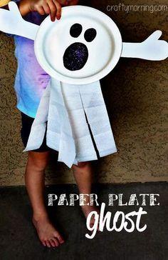 DIY Halloween : DIY Paper Plate Ghost Craft for Kids (Fun Halloween Art Project!)