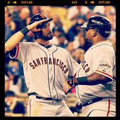 For those about to rock, we salute you - Angel salutes Panda after his 1st HR of 2013 - #SFGiants