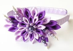 Kanzashi Fabric Flower headband, purple and violet lotus.
