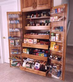 Pantry storage - should have a bar section / deep lip to prevent things falling out. Ensure highly reinforced to carry weight. Note storage in doors. Needs to be substancial for teh doors as will hold bottles of condiments Kitchen Pantry Storage, Kitchen Redo, Kitchen Organization, Kitchen And Bath, Kitchen Remodel, Organizing, Kitchen Ideas, Kitchen Pantries, Pantry Ideas