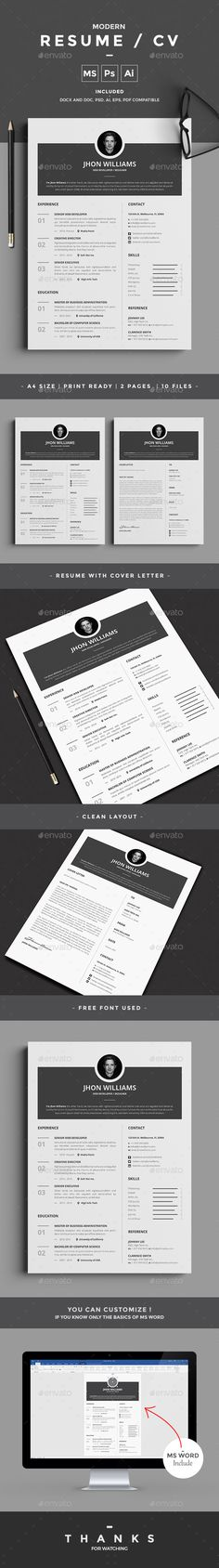 Buy Resume by design-park on GraphicRiver. Resume Word Template / CV Template with super clean and modern look. Clean Resume Template page designs are easy to u. College Resume Template, Best Resume Template, Resume Design Template, Cv Template, Creative Resume Templates, Stationery Templates, Stationery Design, Resume Words Skills, Infographic Resume