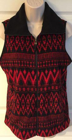 Chaps Womens Medium Cozy Fleece Vest Zip Front Red Black Aztec Print M  | eBay