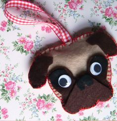 Felt Pug Mops Christmas tree ornament by SewIDidBoutique on Etsy, £3.00