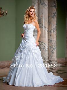 Vestido de de noiva 2014 strapless una línea de satén de novia princesa vestido con falda desmontable para