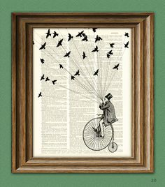 Steampunk Bicycle Art Print 'The Sparrow Thief' Victorian Man on Penny Farthing Bike with birds illustration upcycled dictionary page book