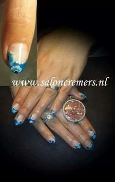 Blue french with flowers