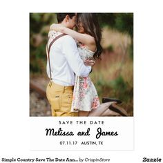 Simple Country Save The Date Announcement Postcard Simple and modern country Save The Date. It's a nice look for your rustic or modern wedding announcement.