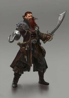 m Fighter Pirate Med Armor Sword Hook coastal docks d&d RPG Fantasy Male, Fantasy Rpg, Medieval Fantasy, Dark Fantasy, Fantasy Character Design, Character Concept, Character Inspiration, Character Art, Dungeons And Dragons Characters