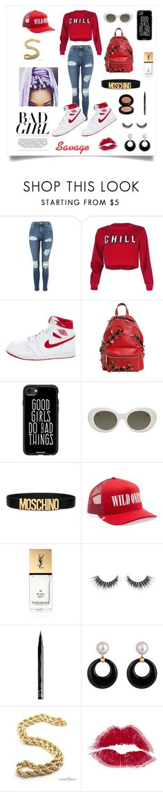 """Bad Girl"" by lilqueen23 ❤ liked on Polyvore featuring Topshop, NIKE, Moschino, Casetify, Acne Studios, AMIRI, Yves Saint Laurent and NYX"